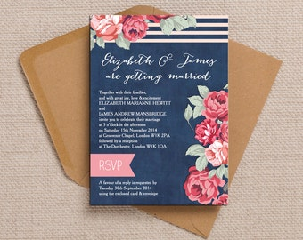 Navy Blue with Red and Pink Flowers Wedding Invitation & RSVP with envelopes