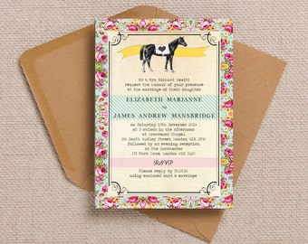 Equestrian Horse Show Themed Vintage Wedding Invitation & RSVP with envelopes