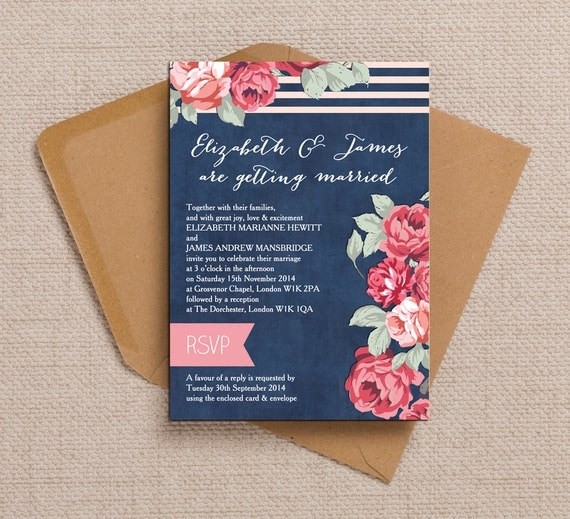 Navy Blue With Red And Pink Flowers Wedding Invitation & RSVP