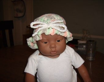 Crocheted Jingle Ruffled baby Hat