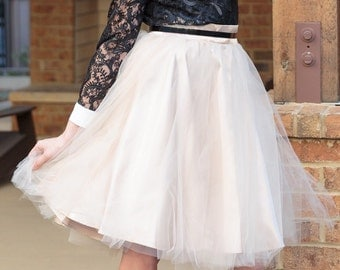 """The """"Tullie"""" in CHAMPAGNE (Limited Edition Color) - Our exclusive tulle skirt with pockets! Quantities Limited!"""