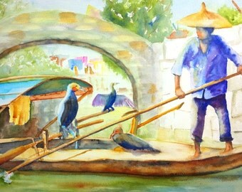 ORIGINAL Watercolor Landscape Painting, China Cormorant Fishing,  12x16 inch, Cormorant birds, Chinese fishing boat, Fisherman, Chinese art
