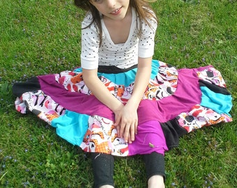 upcycled full patchwork gypsy dancinlg 4 1/2 tired grow-with-me skirt