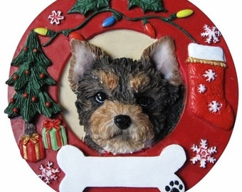 Yorkie Pup Ornament Personalized with your Dog's Name, Yorkie Gift, Dog Gift