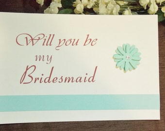 one card Bridesmaid, maid of honor, matron of honor cards in color you choose
