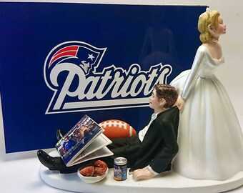 New England Funny Football Bride and Groom Wedding Cake Topper