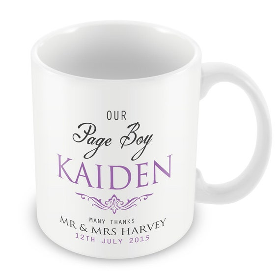 Personalized Page Boy Wedding Mug- Thank You Present Gift Boy Wedding ...
