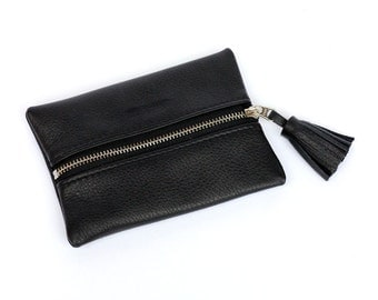 Purse leather cowhide black