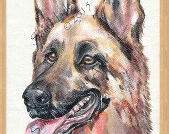 German Shepherd. Original acrylic on stretched box canvas.