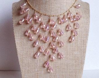 Bib Blush Necklace Blush Wedding Necklace. Blush Crystal Necklace Lifgf Blush Bridal Jewelry