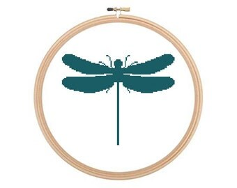Dragonfly - Cross stitch pattern, Dragonfly Pattern, Insect Cross Stitch, Insect Pattern, Easy Cross Stitch, Simple Cross Stitch