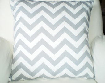 Gray Chevron Pillow Covers, Decorative Throw Pillows, Cushions, Storm Grey, Couch Bed Pillows, Euro Sham, Cushions, One or More All Sizes