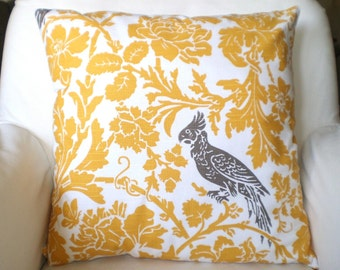 Yellow Pillow Cover Taupe Bird, Decorative Throw Pillow, Cushion, Corn Yellow Pillow, Throw Pillow, Couch Bed Pillow, One or More All Sizes