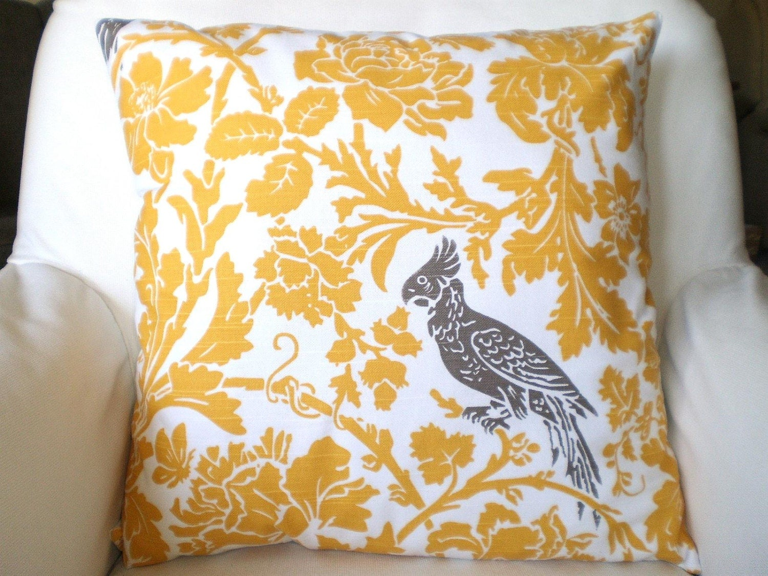 Yellow Pillow Cover Taupe Bird Decorative by PillowCushionCovers