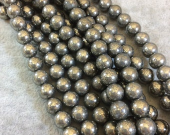 Pyrite Round Bead Strand, 8mm, approx. 49 beads per strand