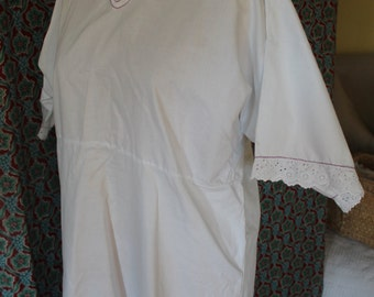 White cotton nightdress, home made with broderie anglaise and purple embriodery detail