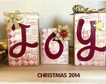 """Primitive Christmas Wood Blocks """"Joy""""...Beautiful mantelpiece to celebrate the birth of our Lord on Christmas."""