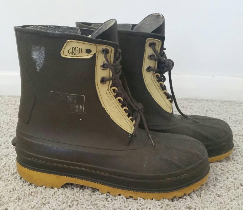 vintage greb kodiak rubber steel toe work boots by