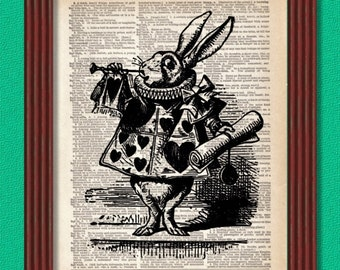 BUY 2 GET 1 FREE White Rabbit, the Herald Dictionary Art Print Alice in Wonderland Trial Decor Wall Book Lewis Carroll