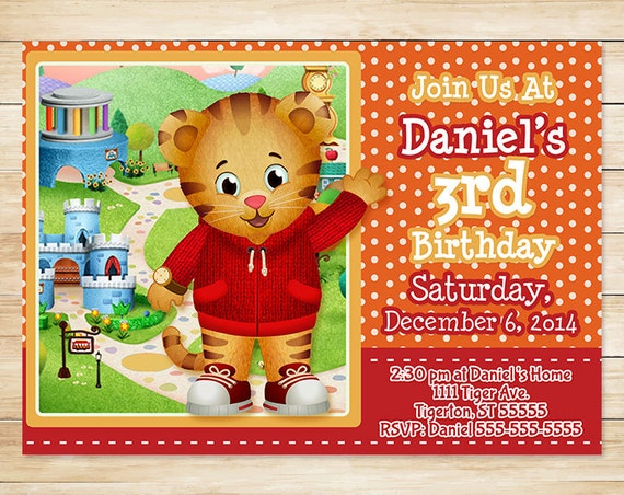 Daniel Tiger Invitation and Thank You Card - Daniel Tiger Birthday Party Invites