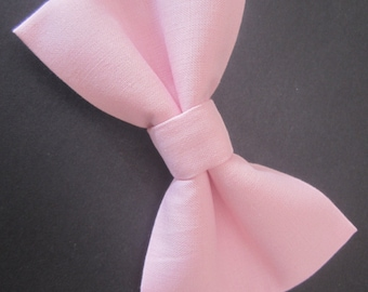 pale baby pink bow tie, Light pink bow tie, Solid pink bow tie, Men's pink bow tie, Boy's pink bow tie, Extra snap bow tie.