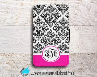 Samsung Note Wallet Phone Case -Black and Pink Damask  -for Samsung Note 3 Note 4 or Note 5 - Can add Monogram, Name or change colour!