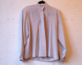 Vintage grey blouse, shirt, embroidered blouse.