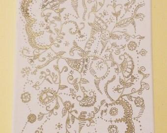 Flowers: Secret (Unique Hand-drawn Henna Art, Original Painting on Canvas)