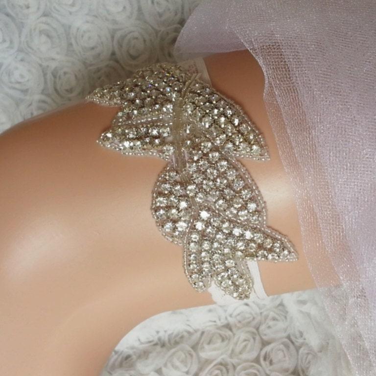 White Wedding Garter: White Rhinestone Wedding Garter Wedding Garter By BarefootShop