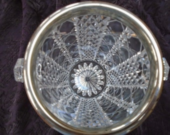 Mini Crystal Ice Bucket with Silver Plate Rim and Knob Handles, Diamond Point/Octagon Pattern