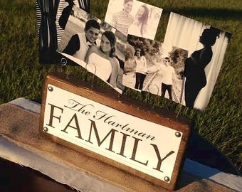 Custom Family Name Plate Rustic Wooden Photo Block Your Family Name