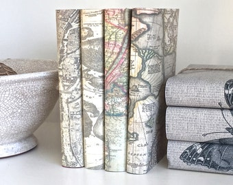 Book Decor, Decorative Books with Vintage Maps Book Covers, Vintage Maps Books,  Maps Book Set, Book Set with Custom Covers, Wedding Prop