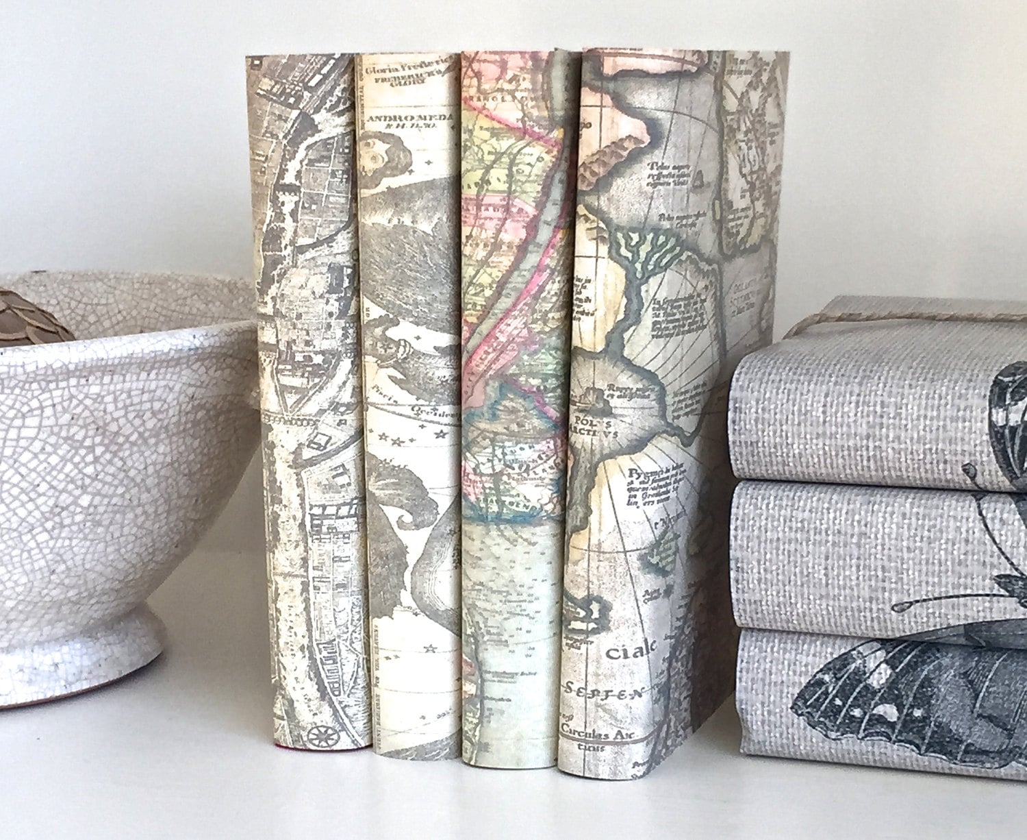 Uncategorized Book Decor book decor decorative books with vintage maps covers