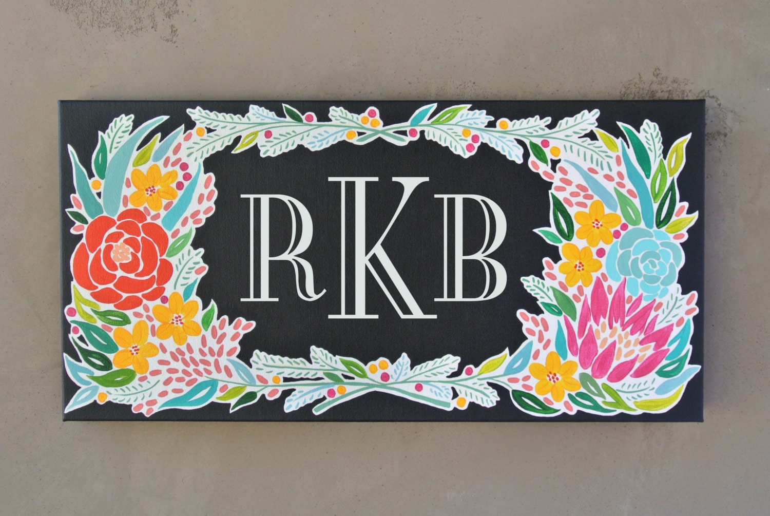 Monogram Canvas Painting Wedding Gift Idea by JustJulieAnneStudio