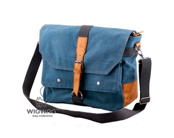Mens bag, shoulder mens bag, convertible messenger bag, canvas leather bag, tablet mens bag, canvas mens bag, student bag, everyday bag