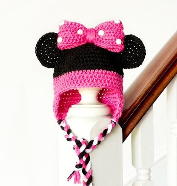 Crochet Minnie Mouse hat with bow and ear flaps by ...