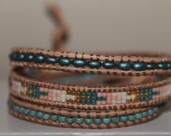 Wrap boho bracelet leather beaded wrap bohemian bracelet gypsie bracelet leather bracelet beaded wrap bracelet jewelry gift for her