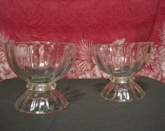 REDUCED PRICE!  Vintage!  Pair of Large Pressed Glass Dessert Bowls w/Flared Base