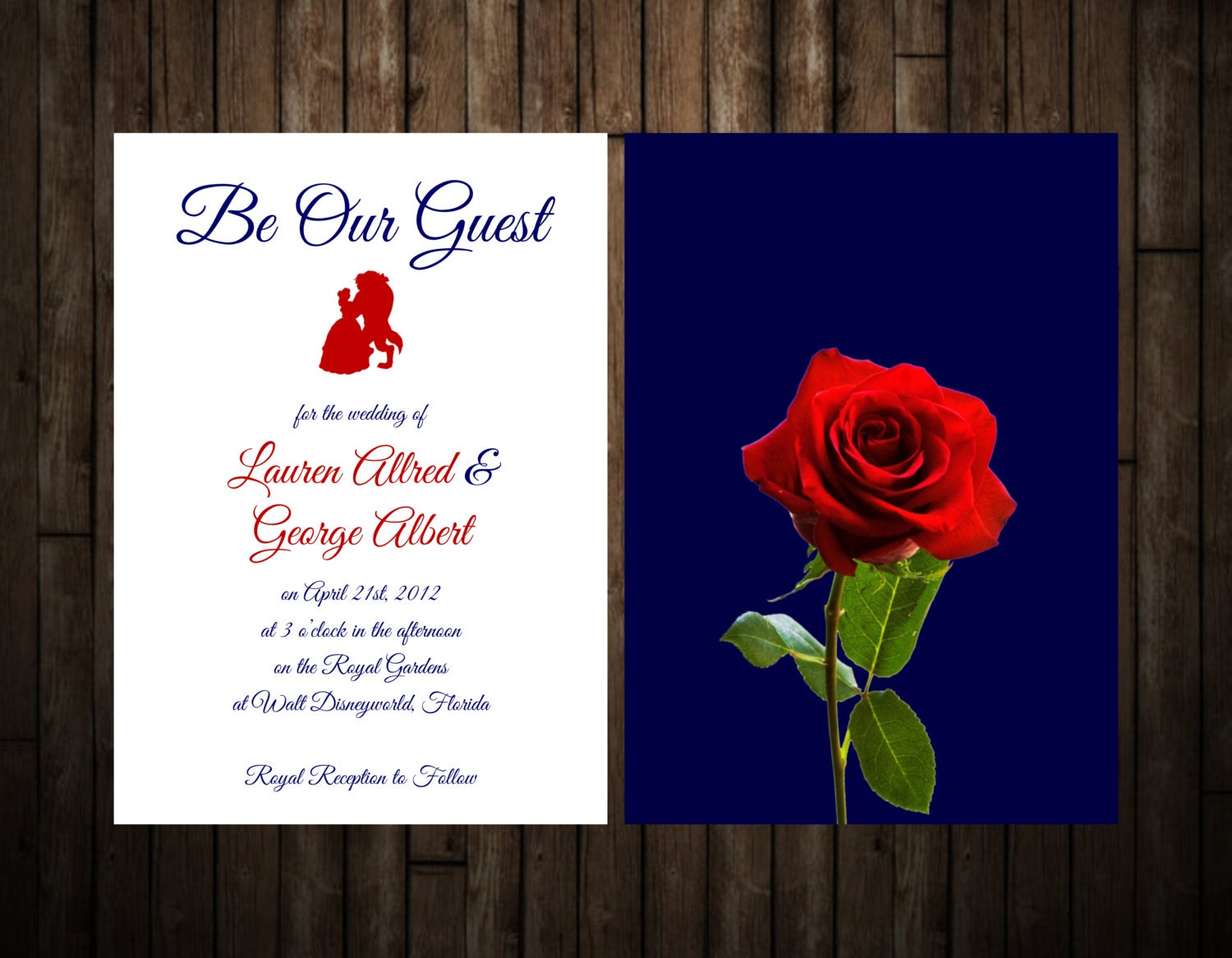 Beauty and The Beast Wedding Invitation by StationeryByLaly