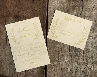 Green Leaves Wedding Invite