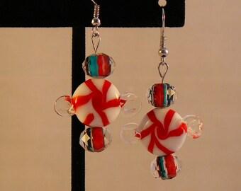 Peppermint Swirl Candy Earrings