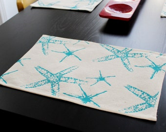 100% Recycled Table Mat. Set x 4 Starfish Design