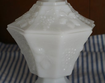 Vintage Milk Glass Paneled Grape Compote, Grape vine design covered dish, white glass candy dish