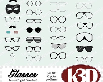 Eye Glasses clip art clipart instant digital download, Spectacles, Mustache, Sunglasses, 3D glasses. 30 digital images, graphics.