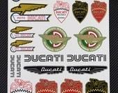 DUCATI Old logos decal sheet motorbike stickers set racing 24x32 cm. Monster Cafe Racer