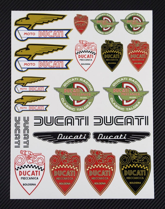 DUCATI Classic Retro Old Logo Motorcycle Decal Sheet Motorbike - Ducati motorcycles stickers