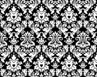 Knit Damask Black Fabric 1/2 yard