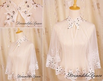 Unique shrug bridal lace bolero,White shrug,Keyhole bolero,Crystal wedding lace bolero jacket,Rhinestone 3/4 sleeve bolero,Shrug lace top