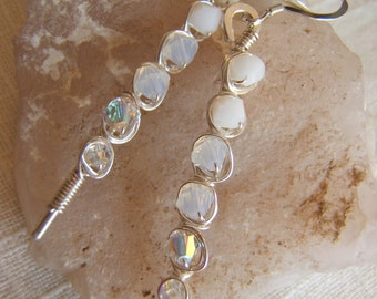 Sterling Silver Wire and White Swarovski Crystal Earrings