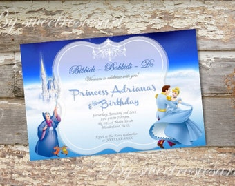 Girl Princess Birthday Invitation/ Cinderella